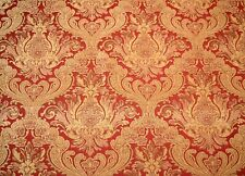 Red Gold Chenille Damask Upholstery Fabric Covington Balencia Antique Red