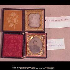Antique 1/9th Plate Id'ed Daguerrotype & Ambrotype Walker Children Worcester Ma