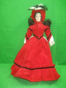 """Vintage Franklin Heirloom Doll Porcelain 17"""" Red Dress Little Women"""