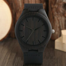Casual Genuine Leather Band Strap Bamboo Nature Wood Men Women Wrist Watch Gift