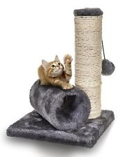 Small Cat Kitten Sisal Scratch Post Toy With Tunnel & Play Mouse Pet Activity