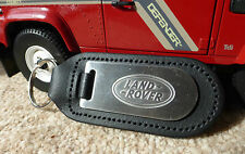 Land Rover Defender Range Discovery Qualità Lega & pelle Nera Portachiavi Catena