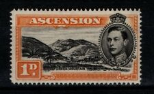 Ascension 1938 1953 KGVI 1d Green Mountain SG 39ac perf 14 Mint MH