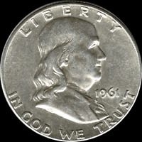 """A 1961 D Franklin Half Dollar 90% SILVER US Mint """"About Uncirculated"""""""