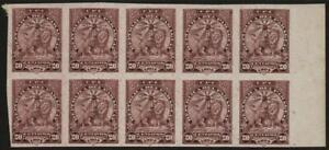 PARAGUAY: 1904 - 20 Centavos Block of 10 - Plate Proof on Thick Card (40147)