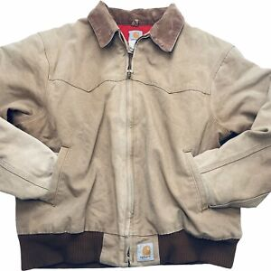 Vintage Carhartt Santa Fe Union Made In USA 80s Work Jacket Red Lined XXL 2XL