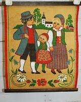 Vintage Sweden Burlap Fabric WALL HANGING Banner Swedish Family Church Kurbits