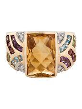 John C. Rinker 14K YG Citrine Diamond, Topaz, Peridot, Garnet Ring  7.5 JCR