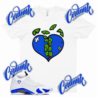 White MONEY HEARTED Sneaker T Shirt to match Jordan 14 Hyper Game Royal 1 3
