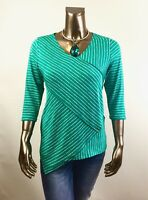 CHICO'S *NEW SIZE 2. (L) GREEN-WHITE CROSS-STRIPE  3/4-SLV TUNIC $85
