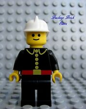 Lego Minifig MALE FIREMAN Classic Town Firemen White Helmet Black Legs