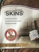Furniture Skins 4 Piece Construction Machine Washable Slipcover Recliner Biscuit