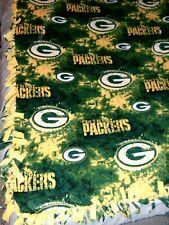 "HANDMADE 2 layer fringe tie blanket/throw NFL GreenBay Packers Football 60""X68"""