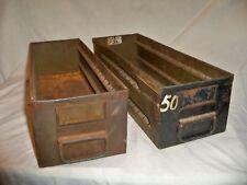 """Lot of 2 Vintage Industrial Steel Metal Storage File Drawer 18""""x5 3/4""""w x 4 3/4"""""""