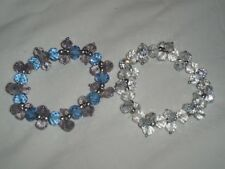 Set Lot Of 2 Stretch Nicole Arm Bracelets Clear Pink Blue & Purple Small NWOT *