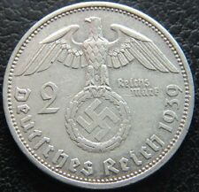 WWII GERMAN 1939 - A 2 REICHSMARK 3RD REICH SILVER NAZI GERMANY COIN (WC2234)