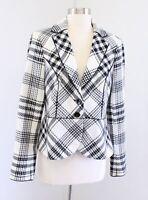 White House Black Market Off White Black Plaid Print Blazer Jacket Wool 8 Peplum
