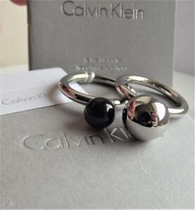 CALVIN KLEIN STAINLESS STEEL SET of 2 RINGS UK- P; US- 8.0; BNWT BOXED RRP £79