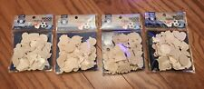 Lot of 240 Assorted Wood Shapes Cutouts Unfinished - For Crafts and DIY Projects