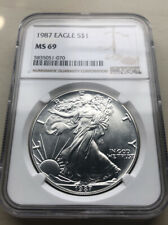 1987 Silver Eagle MS 69 NGC Silver Coin Deep Luster !