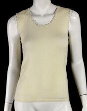 LORO PIANA Ivory Cashmere Beaded Trim Sleeveless Knit Top 42
