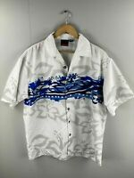 C-Two Men's Vintage Short Sleeve Shirt - Bowling / Hawaiian - Size Large - White