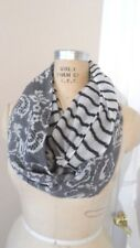 NEW CITRUS FASHION ACCESSORIES 100% WOOL INFINITY SCARF OFF WHITE AND BLACK