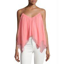 ELIZABETH & JAMES Women Medium Pink VERONIQUE SILK TOP Handkerchief Hem Flowing