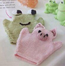 Animal Glove Style Wash Mitts DK Knitting Pattern