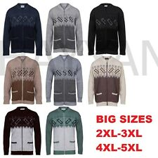 Big Sizes Men Classic Zip Up Cardigan granddad Collar Sizes-2XL,3XL,4XL,5XL