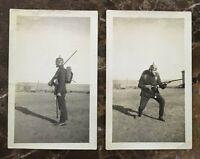 (2) ORIGINAL PHOTOS OF A WW1 US ARMY VET WEARING HIS WW1 GERMAN ARMY BRING BACKS