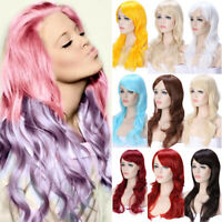 Ombre Pink Purple Red Full Wig Straight Wavy Long Wigs Cosplay Party US Seller l