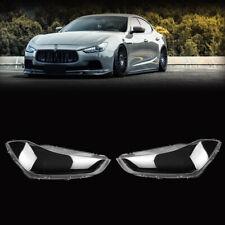 Pair Clear Headlight Headlamp Lens Cover For Maserati Ghibli 2014-2018