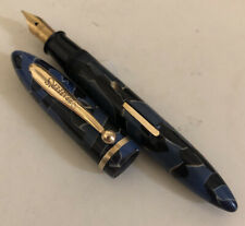 Vintage Sheaffer Blue / Black Radite Midget Balance Fountain Pen 3-25 RESTORED