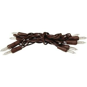 10 Ct Count Clear Lights Light Set Brown Wire Cord Mini Primitive Christmas