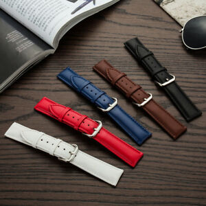 NEW Padded Buffalo Grain Leather Watch Strap 12mm-18mm-24mm Contrast Stitching