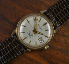 Vintage BULOVA SEA KING Cross Hair Dial Automatic Gold Plated Watch w/ NOS Band
