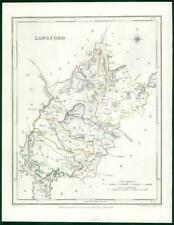 1845 IRELAND - Original Antique Map of LONGFORD by Lewis with outline colour