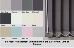 """BLACKOUT Vertical Blind Slats Replacement Louvres 89mm (3.5"""") Lots of Colours"""