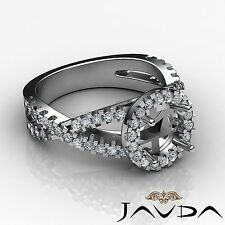 Diamond Engagement Ring Round Semi Mount 0.9 Carat Halo Prong Set 18k White Gold