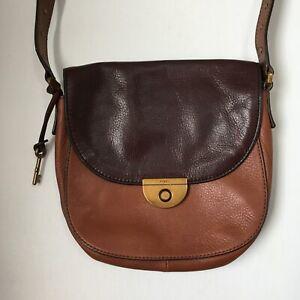 Fossil Emi Colorblock Leather Saddle Bag Multi Brown Studded Strap ZB6916
