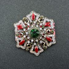 Betsey Johnson Fashion Green Crystal Shiny Flower Enamel Charm Brooch Pin