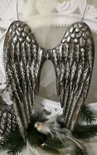 Angel Wings Wings Antique Silver Metal Christmas Shabby Vintage 14 5/8in Large
