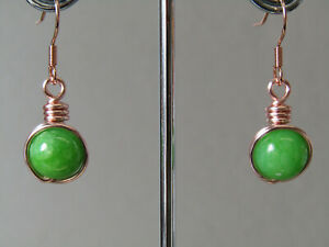 Lime Green Jade Wrapped Wire Small Drop Silver,Rose Gold or Gold Earrings Nice!