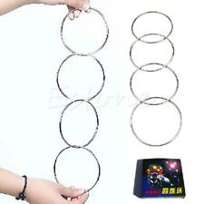 4 Magic Chinese Linking Rings Set Magnetic Lock Kids Party Show Stage Trick New