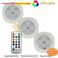 Set of 3 RGB Color Changing LED Lights, Wireless Remote Control Spotlights