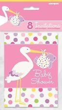 Pink Stork and Polka Dots Girl Baby Shower Invitations Pack of 8 with envelopes