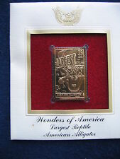 New listing Wonders of America Largest Reptile Alligator replica Gold Golden Cover Stamp