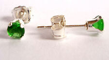 Emerald 925 Sterling Silver Stud Earrings Round 3mm Green Created Stone SKU 825