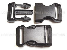 """10 1"""" Contoured Side Release Buckles Black 1 inch Webbing Straps Paracord H84-10"""